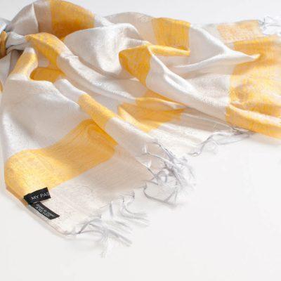 Varanasi Silk Scarf - 55x180cm - Stripey - Creme Beige Yellow