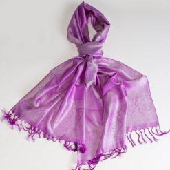 Varanasi Silk Scarf - 55x180cm - Jacquard - Purple / Silver