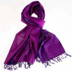 Varanasi Silk Scarf - 55x180cm - Reversible - Purple / Strong Pink