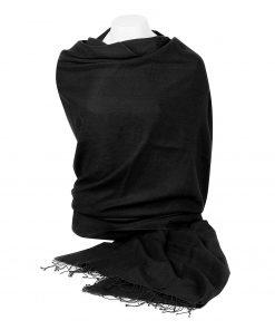 Pashmina Shawl - 90x200cm - 70% Cashmere / 30% Silk - Black