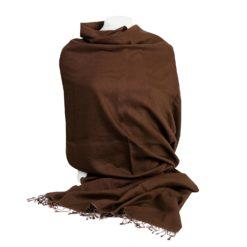 Pashmina Shawl - 90x200cm - 70% Cashmere / 30% Silk - Cocoa Brown