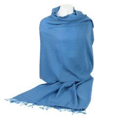 Pashmina Shawl - 90x200cm - 70% Cashmere / 30% Silk - Parisian Blue