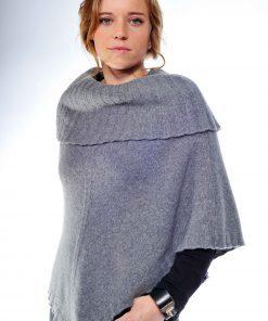 Cowlneck Poncho - 70% Wool / 30% Cashmere - Grigio