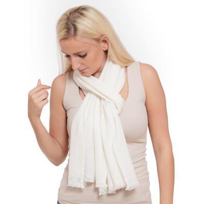 Pure Cashmere Scarf - Natural White