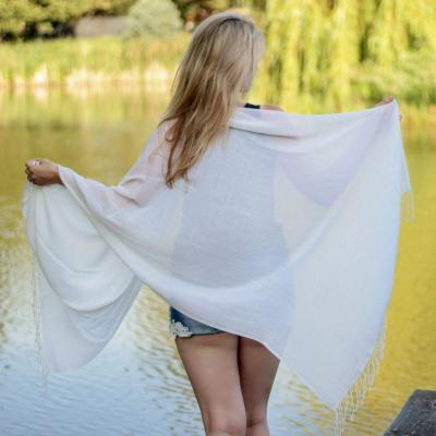 Pure Cashmere Ring Shawl - Natural White
