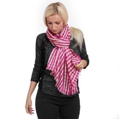 PASHMINA STRIPED STOLE – 100% CASHMERE – 55X200CM – VERY BERRY AND GREEN HAZE