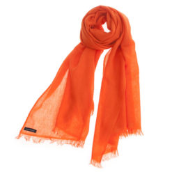 Pashmina Ring Stole - 70x200cm - No Tassels - Harvest Pumpkin mp19 - 100% Cashmere