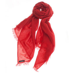 Pashmina Ring Stole - 70x200cm - No Tassels - Pompeian Red mp126 - 100% Cashmere